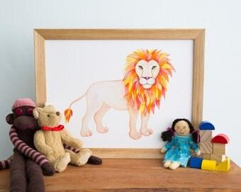 Lion Art Print - original hand drawn illustration- wWatercolour Print - Nursery Art - Childs Decor - Lion Print - Jungle Animals