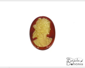 1 pc Cornelian Lady Cameo - Right Side - Czech Glass Cab 25x18 mm (9806)
