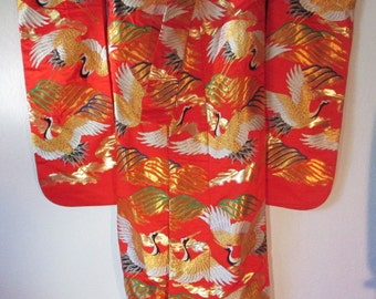 Japanese wedding kimono with flying cranes wk 9