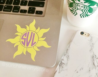 Tangled Sun Rapunzel Monogram Decal Sticker