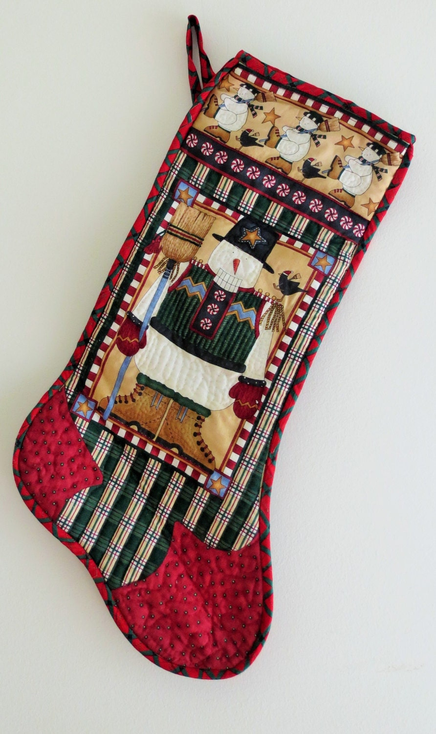 Handmade Cotton Christmas Stocking Features Vintage Looking