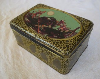 Vintage 1940s Tin Box 'Made in France' Gondola with a Full Moon