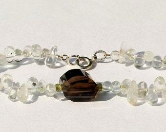 Gemstone bracelet with sterling silver clasp, aquamarine, Peridot and smoky quartz 19 cm