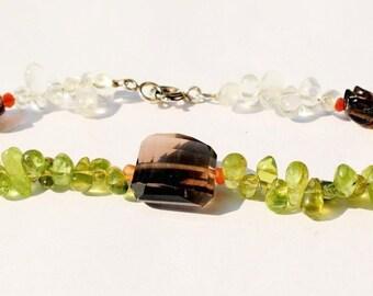 Gemstone bracelet with sterling silver clasp, Peridot, aquamarine, smoky quartz and carnelian, 20 cm