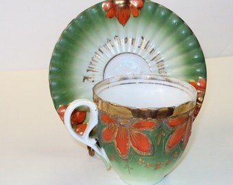 """Handpainted Cup and Saucer """"A Present from Penzance."""" Victorian Era"""