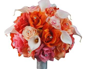 Large Elegant bridal bouquet-peach,coral,pink,orange rose calla lily bouquet