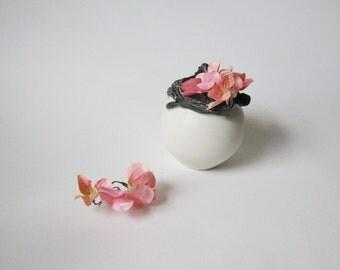 porcelain twig design vase / ceramic white and black vessel by echo of nature , yumiko goto