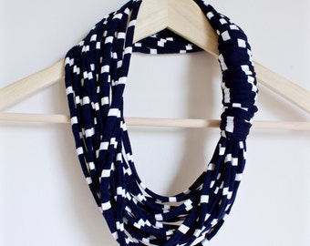 Layered Fabric Necklace Scarf | Navy Blue w/ White Stripes | Chunky Infinity Loop T-shirt Scarf | Women's Accessories | The VALEDICTORIAN