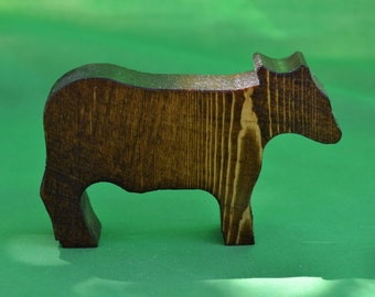 Bull, Cow, Farm Play Set, Toy Bull, Toy Cow, Wood Cow