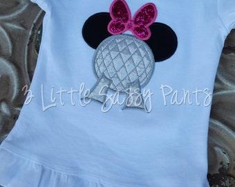 Epcot Minnie Mouse Shirt- Minnie Mouse Epcot Shirt- Disney Vacation Shirt- Custom Embroidered Shirt- Applique