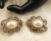 Vintage Faux Pearl  Cabochon Earrings