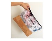 Dyed canvas clutch with cork bottom,Black Friday,Hand Painted Zipper Bag,hand dyed clutch, tie dye purse