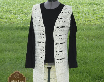 Women's Crocheted Vest, Crochet Vest, Long Vest, Maxi Vest, Crochet, Long Crochet Vest, Ladies Maxi vest