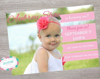 Photo birthday party invitation. printable. digital download - ANY color customized