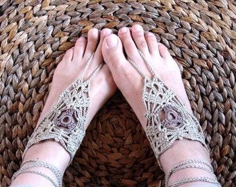Crochet Gloves, Boho Sandals, fingerless gloves, Crochet Anklet, Blue Sandals, Yoga Wear, Lace Mitts, Slave Anklet, Bellydance Sandals