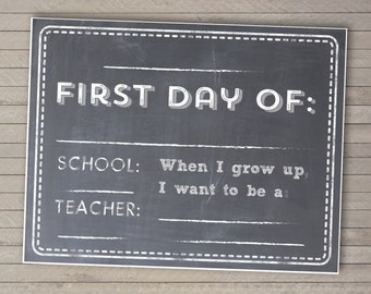 Back-to-School Printable Sign -- Photo Prop -- Instant Download -- Customizable First Day Sign