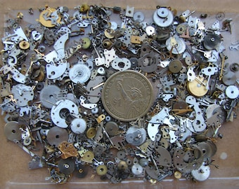 Vintage steampunk watch parts 2 oz (56 gr) / Altered Art Industrial Mixed Media Assemblage / Glitter Watch Gears parts / tiny Watch parts F