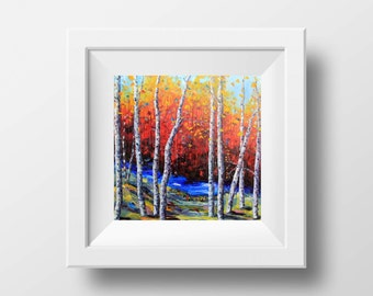 Birch Tree Print, Tree Art, Birch Tree Art, Giclee, Tree Decal, Fall Painting, Art print, Home Decor, Colorful Artwork, Trees, Leaves, Art