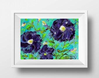 Flower Print, Giclee, Floral, 8x10, 11x14, Flowers, Purple Dahlia,  Art, Signed Print, Dahlias, Turquoise, Colorful Art, Spring Flowers