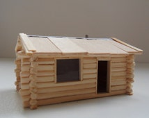 miniature wooden log cabin HO scale