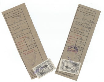2 Vintage receipts from old Spain - 1952 - Wire Transfer receipt- M78
