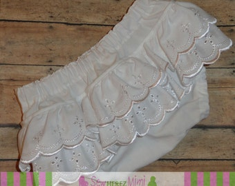 EYELET Lace Double Ruffle Diaper Cover Sizes Newborn 3 mos 6 mos 12 mos 18 mos 24 months
