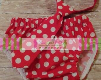 Cake Smash Red White Dot Dr Seuss 1st Birthday Diaper Cover Necktie Cake Smash Set