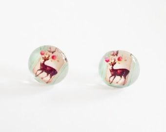 Reindeer in flower garden glass cabochon stud earrings