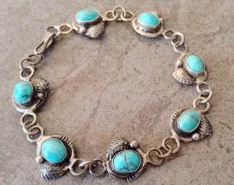 Native American Vintage Navajo Turquoise Sterling Silver Link Bracelet