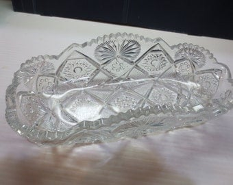 Antique American Brilliant Cut Crystal Glass Celery Dish Bowl