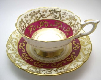 Antique Royal Stafford, Maroon and Gold Tea Cup & Saucer, Royal Stafford Buckingham, English Fine Bone China.