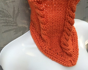50%OFF, Orange knit cowl, acrylic neck warmer, orange scarf