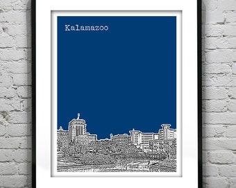 Kalamazoo Michigan Skyline Art Print Poster MI Version 1