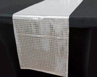 Mirrored Squares Silver Table Runner - Stunning Elegant