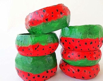 papier mache,bracelet, bangle,free shipping,watermelon,paper jewelry,red,green,black,everyday jewelry,gift for her,summer bracelet.