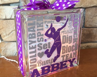 Volleyball Typography GemLight, Volleyball Gifts, Volleyball Decor, Sports Decor, Personalized