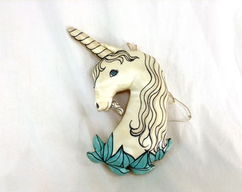 Vintage Handmade Unicorn Soft Toy with Sharpie Drawing