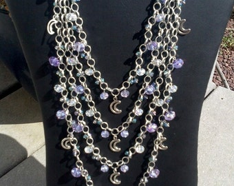 Ethereal Moonlight layered statement necklace