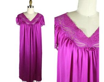 1960s Pink Nylon Nightgown Set / Knee Length Lace Night Gown with Jacket in Magenta by Shadow Line