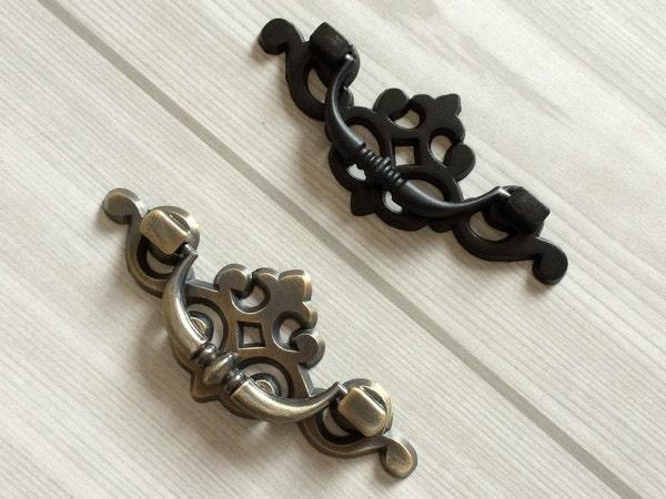 2 5 drop bail dresser pull drawer pulls handles black antique for Furniture bail pulls