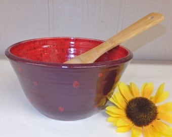 Purple and Red Ceramic Quart Bowl with Polka Dots