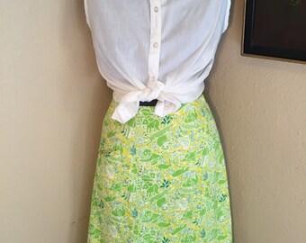 Georgette of the Jungle Skirt - Size Large - Rockabilly Skirt - Retro Skirt - Summer Skirt -Scalloped Hem