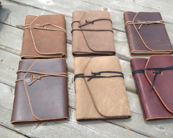 Hand stitched leather journals
