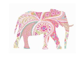 Pink Paisley Elephant Printable 8x10