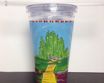 Wizard of Oz Yellow Brick Road Emerald City Plastic Tumbler Drink Home