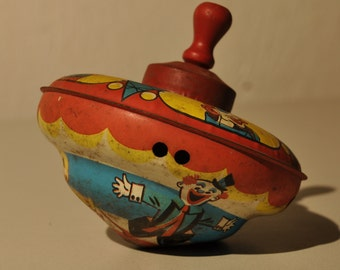 Vintage Chein Tin Litho Spinning Top Wood Handle,1960s Childrens Toy