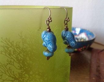 Blue turquoise ceramic frog earrings