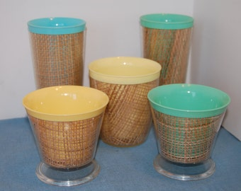 Vintage Raffia Ware Thermal Insulated Tumblers,Picnic Cups, Camper Cups, Camping Cups,  Mug, Ice Cream Cups