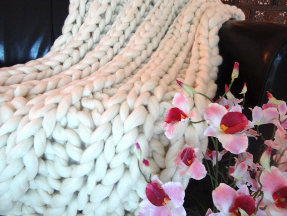 Super Chunky Blanket, 32x48,Merino Wool, chunky throw, knit throw, knit blanket, chunky blanket, knit blanket