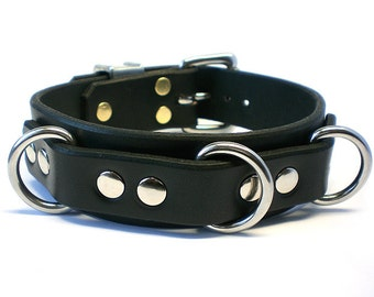 "1-1/4"" Nickel-Free Hardware Hot-Stuffed Latigo Leather BDSM Collar - Stainless Steel Dee Rings - for slave or sub"